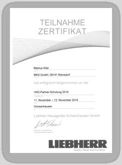 Liebherr Urkunde